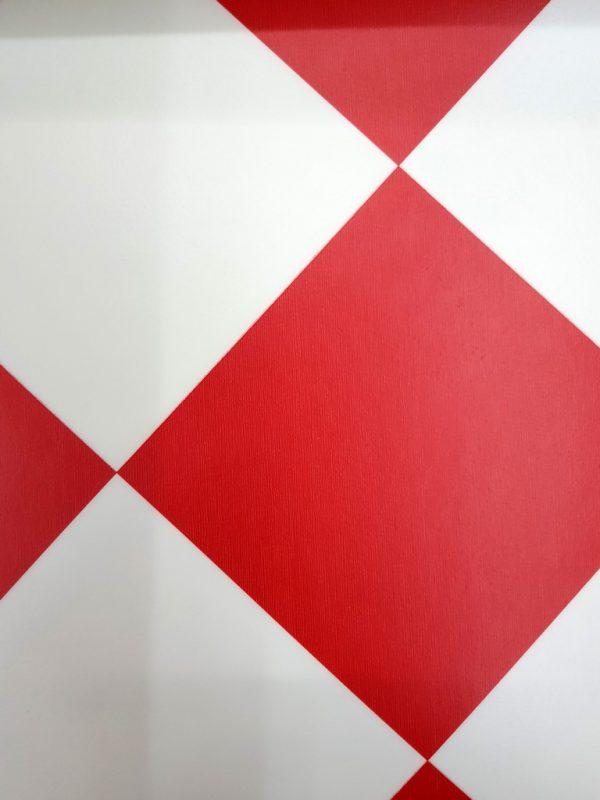 פי וי סי וינטאג' אריח מעויין אדום לבן